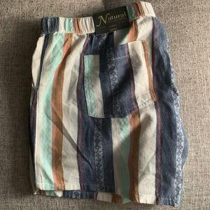 Womens XL Natural Stripe Shorts